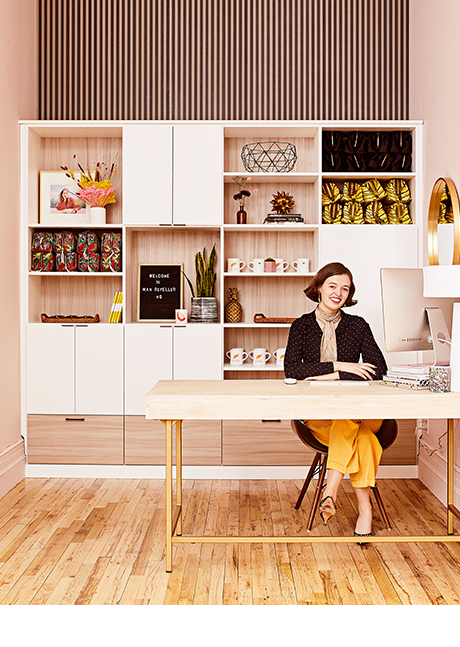 Custom office shelving by California Closets for Man Repeller