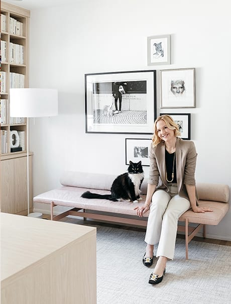 Design Blogger Anne Sage enjoying her custom home office | California Closets