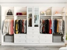 Custom white walk-in closet for vlogger Shea Whitney | California Closets