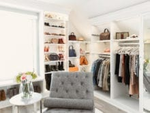 Custom hanging shelves and shelves in Shea Whitney's walk-in closet | California Closets
