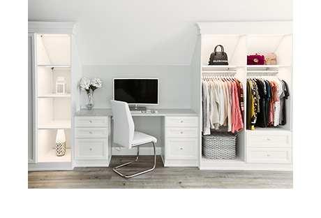 Classic white office for vlogger Shea Whitney | California Closets
