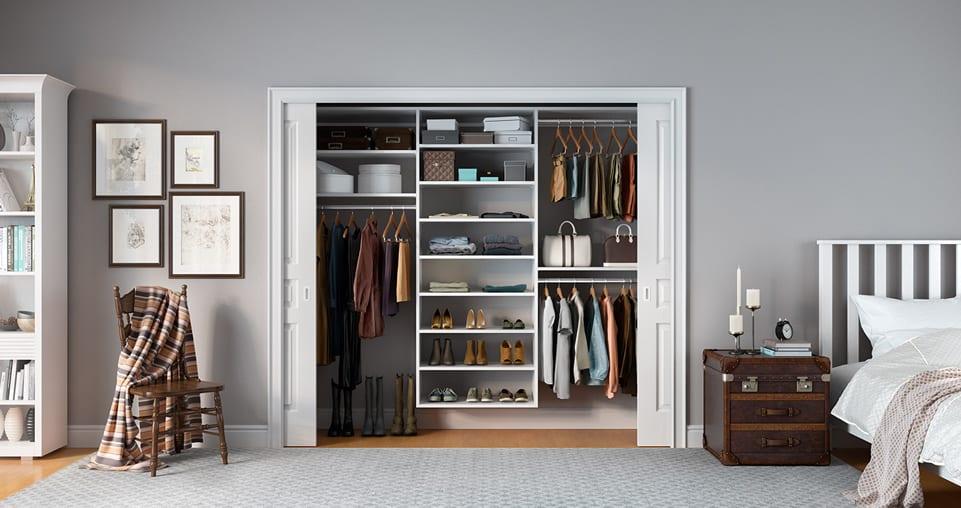 White reach-in closet