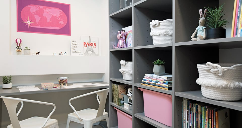 Grey shelving with desk