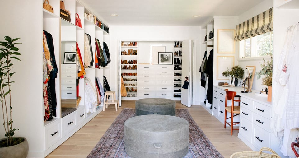 Large walk-in closet with vanity
