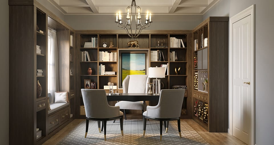 Library bookshelves with wine storage
