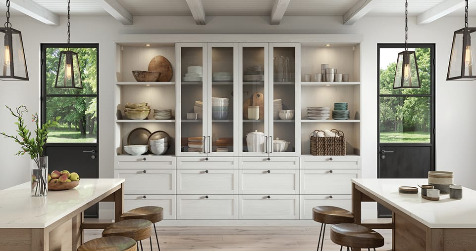 Pantry cabinets with doors and drawers